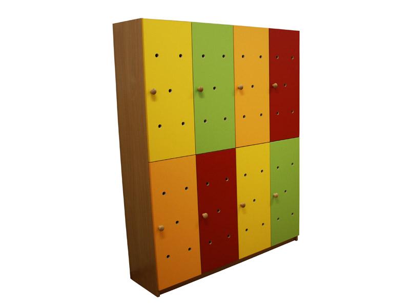 Farebná šatňová skrinka pre 8 detí