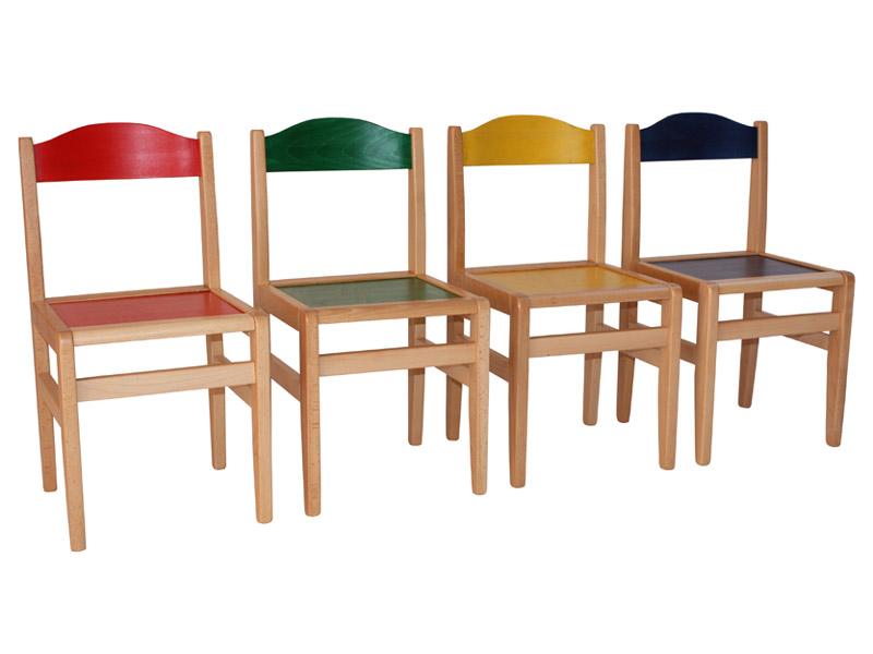 Detská buková stolička - farebná